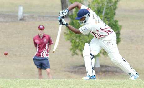 LONE HAND: Centrals batsman Tyrone De Silva drives powerfully during his standout innings against Brothers in the Ipswich Logan Premier League on Saturday.