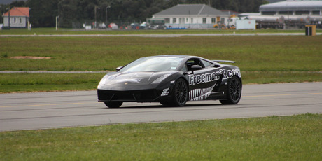 Eddie Freeman in the modified Lamborghini