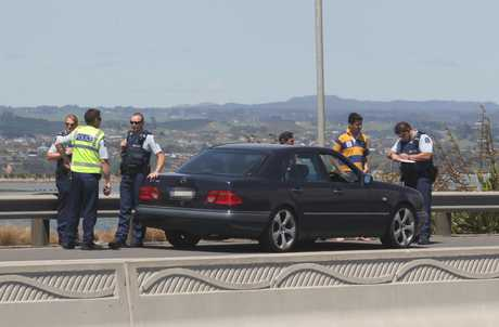 Police speak to drivers near the Harbour Bridge.