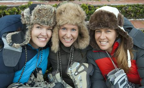 Sandra Barrett, Megan Meineke and Debbie Ladd lace up for a good cause.
