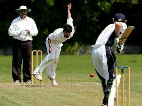 Rotorua bowler Prashant Dhanjee looks to attack Eastern Bay United batsman Campbell Thomas during their teams' encounter at Ferguson Park at the weekend. Photo / Chris Callinan