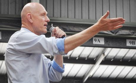 Peter Garrett speaking at Marsden State High School.