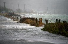 Hurricane Sandy sweeps through Sag Harbor, New York.