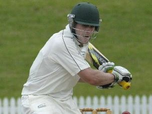 Mt Maunganui batsman Peter Drysdale hits another boundary during his first century for Bay of Plenty last season. Photo / CHhris Callinan
