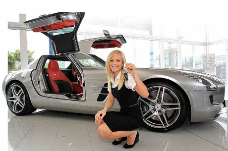 Meija Rooney with a Mercedes-Benz SLS 63 AMG at Garry Crick Prestige, Maroochydore.