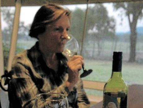 WINE TIME: Margot Tesch at home after a long day's work.