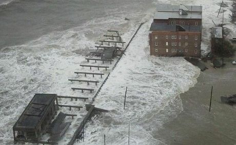 The Atlantic City boardwalk  is taken out as big seas surge ahead of Hurricane Sandy.