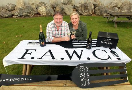 John Hancock, from Trinity Hill Winery, and Annie Dundas, from Tourism Hawke's Bay, prepare for the inaugural Hawke's Bay Food and Wine Classic (FAWC). Photo / Glenn Taylor