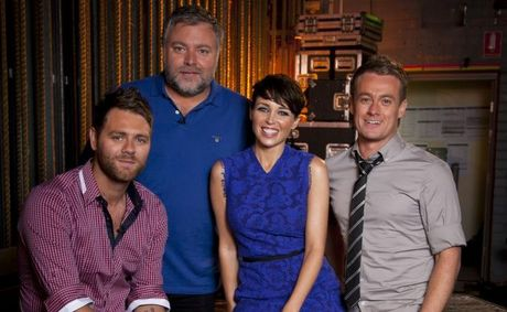 Australia&#39;s Got Talent judges, from left, Brian McFadden, Kyle Sandilands and Dannii Minogue with host Grant Denyer.