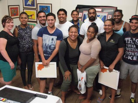 FUTURE DREAMS: Cherbourg Community support mentor, Lauren Williams with Titans TAP graduates Lauren Williams, Marilyn Murray, Joe Sullivan, Craig Renouf, James Bligh, Kalchiri Jacobs, Mele Fonua, Daniel Cobbo, Marion Burke, Lenise Duncan, Rita Nelliman & Chanten Lefoe.
