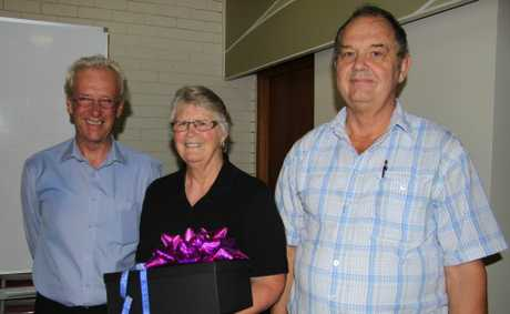 Tweed Shire mayor Barry Longland farewells Joyce and David Martain.