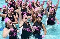 Ladies from the Waterworx Gym and Pool aqua aerobics classes in Springfield have perform a Pink Glove aqua dance.