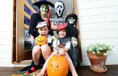 FAMILY FUN: Maggie and David Crowe, of Mt Crosby, and their sons Sean, 9, and Connor, 5, celebrate Halloween as a Celtic tradition.