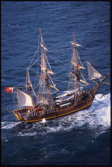 Bounty replica built in Whangarei under sail off Northland coastline in 1983.