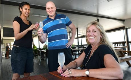 Chinderah Tavern. L to R Loise Wharekawa, Alan Sharkey and Kim Sands. Photo: John Gass / Daily News