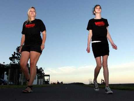 Danielle Noone (left) and her sister Laikyn getting in some pacing practice in support of the big CanTeen Mitre 10 Mega Walk on November 11. Photo / Glenn Taylor