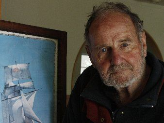 Don Nightingale recalls his sailing days alongside a picture of the brigantine Yankee, in which he sailed the South Pacific after working on the Bounty.