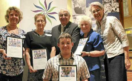 CHEERS FOR VOLUNTEERS: Northern Rivers Volunteers of the Year; Joan Clarke, Joyce Hall, Matthew Kirkham and Kate Welsh recieved their certificates from MP Thomas George and Lismore Mayor Jenny Dowell in a ceremony this week.