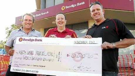CHEQUE IT OUT: Jay Pashley with Bendigo Bank's Judy Blackall and Councillor Jason O'Pray.