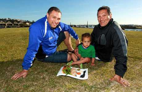 SORTED: Organisers of Kai in the Bay Henry Heke (left) and Robert Whaitiri, with grandson Vayden Whaitiri-Paul, 2.PHOTO/GLENN TAYLOR HBT124280-02 