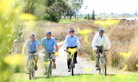Enjoying the Bay's Ahuriri Estuary trail are Napier MP Chris Tremain (left), Tukituki MP Craig Foss, Jonathan Kennett, in his role as NZ Cycle Trail project manager, and Fenton Wilson, Hawke's Bay Regional Council chairman.