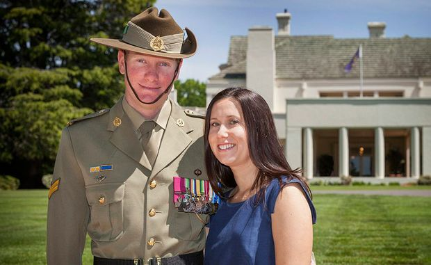 Official portrait of Corporal Daniel Keighran, VC with his wife Kathryn.