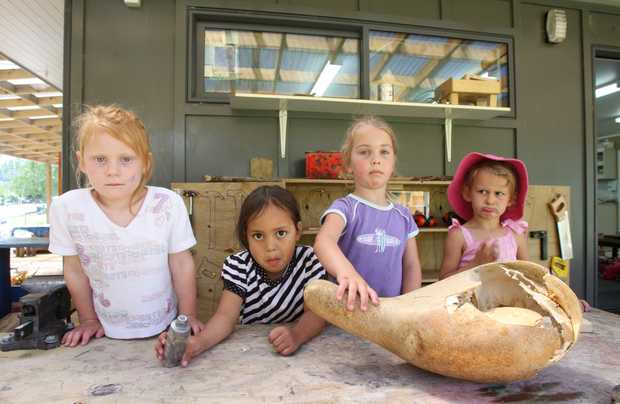 Preschoolers, from left, Amber Gleeson, 4, Nevaeh-Lee Matiu, 3, Isabelle Troughton, 4 and Sangreal Ekins, 3, speak out about vandalism at Maungaarangi Kindergarten