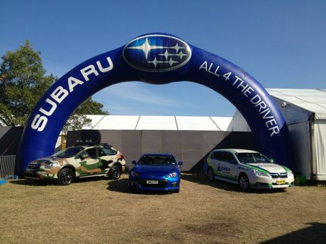 Subaru will feature an Outback, a MY13 XV in the new colour addition of jasmine green, as well as an Orica Green Edge Liberty and an XV dressed in camouflage at the Noosa Triathlon.