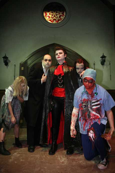 Last years' cast members from A Very Scary Christmas (left to right) Jess King, Jon Edney (Igor), Andrew Saylor (Dracula), Kylie Davidson and Stephen Ormsby.