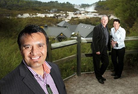 NEW OWNER: Te Arawa Group Holdings has bought Waiotapu Thermal Wonderland from the Sewell/Leinhardt family. Pictured is Te Arawa Group Holdings chief executive Roger Pikia (front) with (back from left) Alex and Cheryl Leinhardt.
