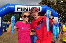 Former Noosa Triathlon winner Emma Jackson and Australian Marathon Legend Steve Monaghetti handed out the medals at the Noosa Superkidz and Tingirana Noosa Special Triathlons.