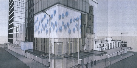 The black-toned glass building will feature two storeys of LED screens.
