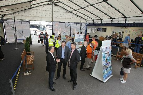 Mayor Stuart Crosby, Tourism Bay of Plenty chief executive Rhys Arrowsmith and Port of Tauranga general manager Graeme Marshall at the new i-port, designed to welcome and inform cruise ship visitors.