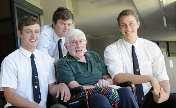 Students from St Mary's College (from left) Ben Choice, Jared Swinton and Jacob Lunney have recently completed a project documenting lives of Lourdes Home for the Aged residents like Nino Marchetti.