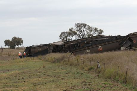 A train carrying coal derailed on the Moura short line near Biloela. 