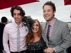 Hamish and Andy with racegoer Wendy Mulry at the Melbourne Cup, November 1, 2011. Big Australia/Simon Woodcock Photo Contributed