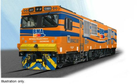 Artist illustration of a new rail locomotive planned to service BMAs new coal mines.