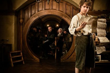 A scene from The Hobbit movie starring Martin Freeman as Bilbo Baggins.