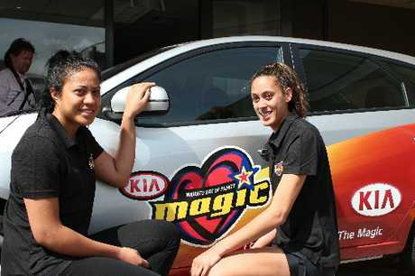 Kendra Falefitu, left, and Erena Mikaere at the launch of the 2012-2013 Waikato/BOP Magic netball squad. Photo / Peter White
