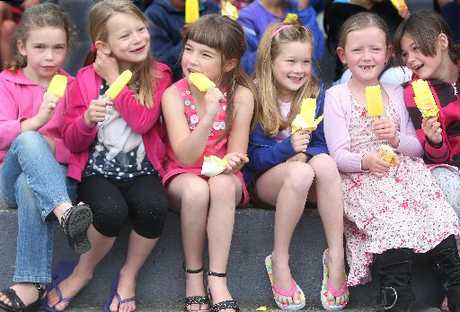 Westbrook school pupils (from left) Morgan Kenyon, 7, Lucy Wells, 6, Leah James, 6, Kerra-Lee Muncaster, 7, India Heron, 7, and Mikalah Blackett, 7, enjoy their free Tip Top iceblocks.