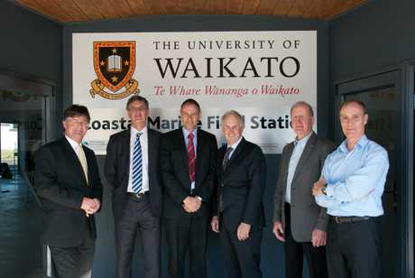 At the opening (l-r) University of Waikaot chair in Coastal Science Professor Chris Battershill, Dean of Science and Engineering Professor Bruce Clarkson, Deputy Vice-Chancellor Professor Alister Jones, BOPRC chair John Cronin, Western BOP mayor Ross Paterson, Priority One chief executive Andrew Coker.