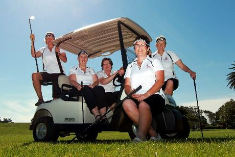 The Hawke's Bay Masters women's golf team. Captain Janie Field (left), Kathy Olsen, manager Ros Evans, Vicky Turley and Lynne Roberts. Photo / Glenn Taylor