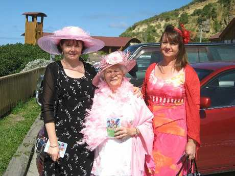 All dressed up in their finery: Kay Dennison, Estelle Bearsley and Rosie Dwyer join in the festivities for the Melbourne Cup function at the Portside Restaurant. PHOTO/JACQUIE WEBBY