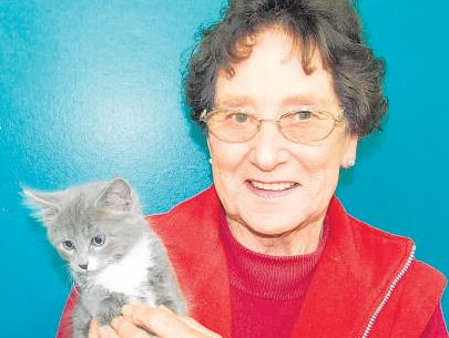 Leonie Schneller with her new kitten adopted from the Scratching Post on Saturday.