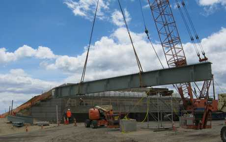 The first steel section of the new Kaituna River Bridge has been placed.