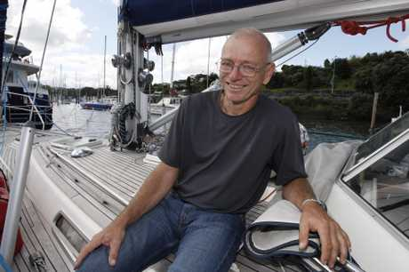 Elmar Junger, Austrian sailor, aboard his yacht Susanna after arriving at the Whangarei Town Basin.