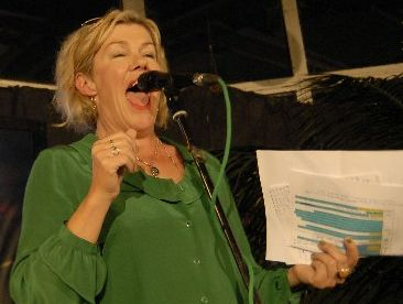 Actress Robyn Malcolm in full voice when MC for the evening at a Green Party function.