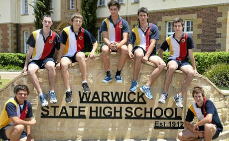 Warwick State High School students (back, from left) Jay Carrie, Josh Ryan, Michael Hoppe,Tim Collins, Brodie Quirk, (front) Jordan Siebenhausen and Ty Gardner are heading to the nationals in knockout track and field.