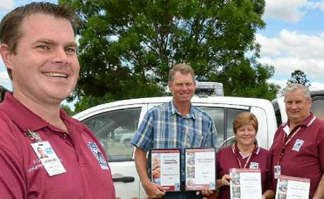 Crime Stoppers state operations manager Jonathon Cowley presented Cameron Schoenfisch, Pam and Keith Ritchie with their awards.