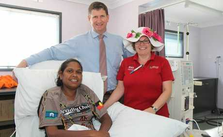 HOSPITAL VISIT: Minister for Health Lawrence Springborg with Kingaroy Renal Unit manager Andrea Rolfe and patient Sharlene Jacobs on Tuesday. 